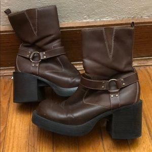VINTAGE CHUNKY MOTO BOOTS
